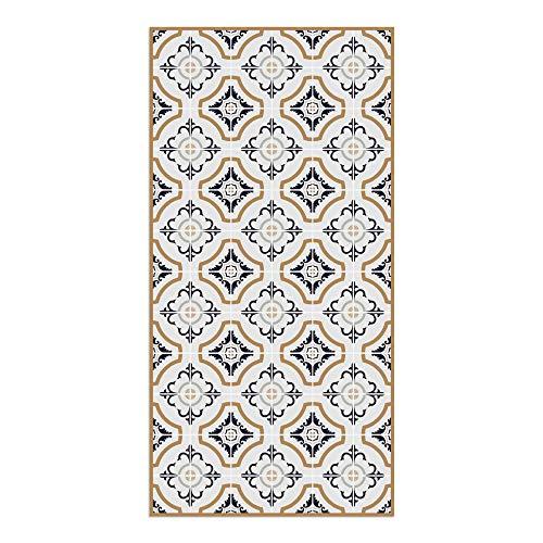 DON LETRA Alfombra Vinílica de Baldosas de Toscana para Salón y Cocina, 120 x 60 cm (Varias Medidas), Antideslizante y Lavable, Grosor de 2 mm, Color Azul Marino, ALV-041