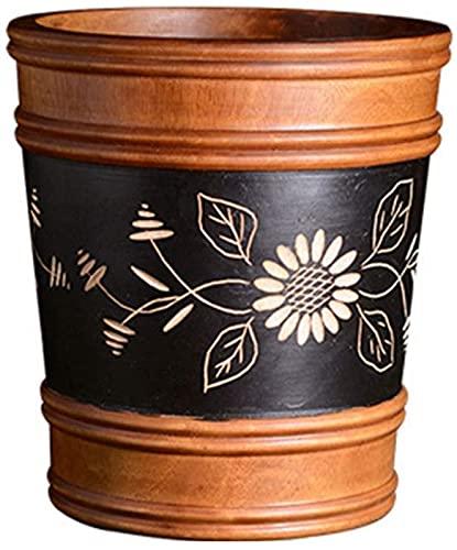 DZCGTP Bote de Basura Combinado, Papelera de Reciclaje de residuos, Bote de Basura para el hogar, Bote de Basura Vintage Hecho a Mano de Madera Maciza, Tallado Creativo, jarrón/Regalo Fino