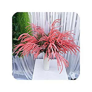 NA 75Cm 30Heads Artificial Droop Astilbe Plant Vine Fake MimosaFlower Branch Real Touch Plastic Wedding Flower for Home Decoration,Pink