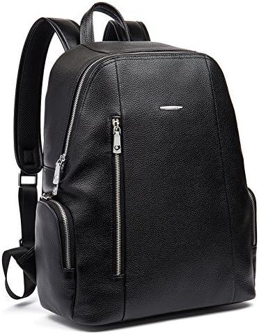 BOSTANTEN Leather Backpack Laptop Travel Camping Shoulder Bag Gym Sports Bags for Men Black product image