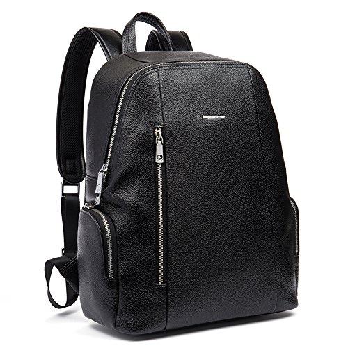 BOSTANTEN Mens Genuine Leather Backpack Rucksack Boys School Daypacks Casual Shoulder Laptop Backpack Black