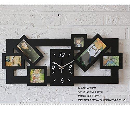 DHGY-Horloge cadre photo créatif mute le salon horloge en bois (sans batterie) 30 * 50CM ,NoirCadeau de cadeau de Noël de vacances d'ami cadeau