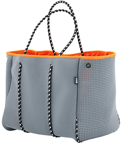 QOGiR Neoprene Multipurpose Beach Bag Tote with Inner Zipper Pocket (Grey, Large)