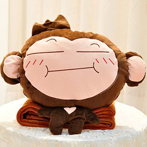 hsvgjsfa Kissen kann eingreifen, Plüsch-Spielzeug, niedliche Affenpuppen, Puppe warme Hände Bedecken DREI-in-eins Treffen Sie den Emoji-Affen (Decke hinzufügen 1 x 1,7 m)