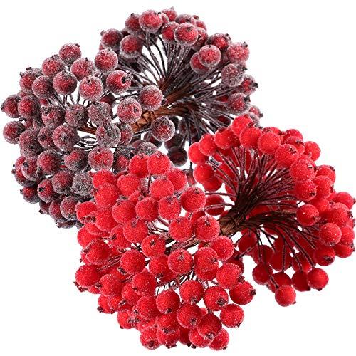 BBTO 100 Drahtstiele künstliche Stechpalmenbeeren 200 Stück 12 mm Mini Weihnachten Frosted Obst Beeren Red and Dark Red