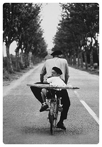 Metalen bord 20x30cm man en jongen op fiets met baguette bord Tin Sign