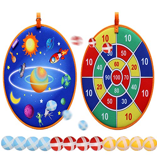 Rapify Dart Board Games for Kids, Board Games Kit with 12 Sticky Balls, 13.8 in Dartboard Set with Hook, Safe & Classic Toy Set for Kids Gift Ages 3-Year-Old and Up Pre-Kindergarten Toys (Planet)