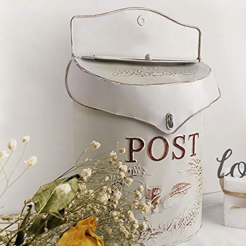 XCXDX Schmiedeeisen Briefkasten, Vintage Shabby Style Briefkasten Mit Exquisiten Relief White
