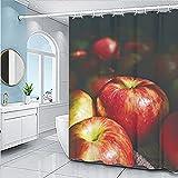 YXWHY Frucht Apfel Schwarz duschvorhang 200x200cm,Wasserdicht & schimmelresistent Badezimmer Set Vorhange aus Polyester,Shower Curtains Apfel Bad Vorhang mit 12 Haken