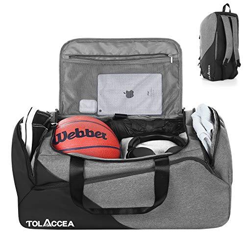 Tolaccea 47L Sporttasche Groß Sporttasche Rucksack mit Schuhfach Nassfach Wochen Reisetasche Duffel Bag Fitness Trainingstasche für Herren Damen Gym,Reise,Schwimmen,Sauna,fußball
