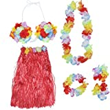 LUOEM Hawaiian Luau Hula Röcke Set tropischen Hula Gras Tanz Rock BH Blumen Armbänder Stirnband...