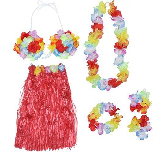LUOEM Hawaiian Luau Hula Röcke Set tropischen Hula Gras Tanz Rock BH Blumen Armbänder Stirnband Halskette Set 5-in-1 (rot)