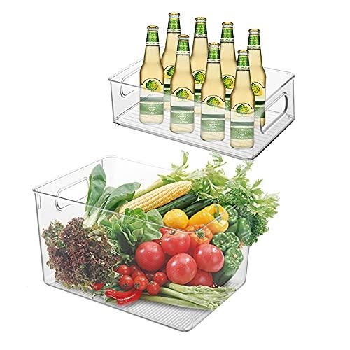 Queta Juego de organizador de nevera de 2 contenedores de almacenamiento con asa organizador de caja transparente para frigoríficos armarios (1grandes / 1 pequeños) (Tipo 1)