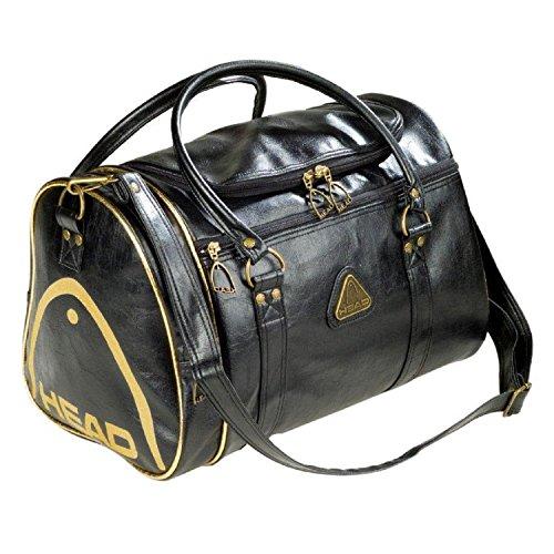 FunkyTravelbags, borsa da viaggio, borsa da palestra, borsa sportiva, da uomo e da donna, borsa St Moritz in stile retrò, colore nero e oro