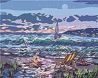 DIYデジタル絵画ビーチでの焚き火Diyデジタル油絵壁画家の装飾アクリル画(フレームなし)40X50
