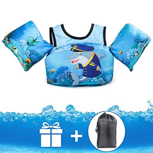 JEVDES Schwimmflügel Puddle Jumper, für Kinder und Kleinkinder von 2-7 Jahre, 15-30kg, Schwimmhilfe mit verschiedenen Designs für Jungen und Mädchen (Captain Dolphin)