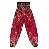Amanod Women Thai Harem Trousers Boho Smock High Waist Yoga Pants