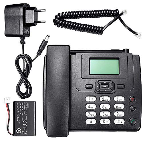 Glossrise Gondola Style Corded Telephone SIM Card, Mini Telephone Corded Phone Home Office Hotel Incoming Caller ID LCD Display Landline Phone