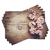 ABAKUHAUS Floral Lot de Sets de Table en 4 pièces, Fleur de Printemps sur...