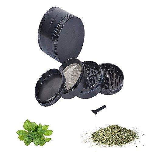 4 pièces Grinder Broyeur à pollen pour tabac, Spice, herbes, épices, Herb alliage de zinc Moulin à herbes avec spatule 4 cm Noir