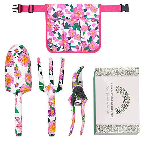 Hortem - Juego de 3 herramientas de jardín de aluminio floral, kit de herramientas de jardinería de alta resistencia con asas de diseño ergonómico, regalo de jardín perfecto para mujer y hombre
