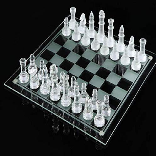 LINWEI Glasschach Set Kristallglas Schachbrett Glas Schachfiguren Set International Schachbrett Spiel Für Kinder Erwachsene (Size : 35x35cm)