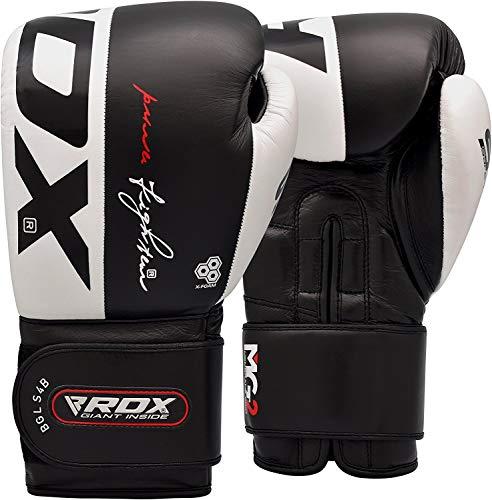 RDX Guantes de Boxeo para Muay Thai y Entrenamiento   Cuero Vacuno Mitones para Sparring, Kick Boxing   Boxing Gloves para Saco Boxeo, Combate Training