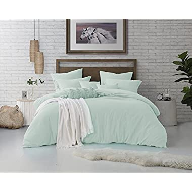 Swift Home Microfiber Washed Crinkle Duvet Cover & Sham (1 Duvet Cover with Zipper Closure & 2 Pillow Shams), Premium Hotel Quality Bed Set, Ultra-Soft & Hypoallergenic – Full/Queen, Dusty Mint