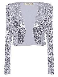 Silver Sequin Long Sleeve Cropped Blazer Bolero Shrug