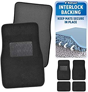 BDK InterLock Car Floor Mats - Secure No-Slip Technology for Automotive Interiors - 4pc Inter-Locking Carpet (Black) (826942129223)