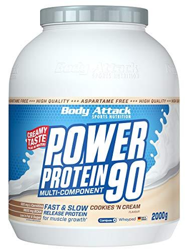 Body Attack Power Protein 90, Cookies n Cream, 2 kg, 5K Eiweißpulver mit Whey-Protein, L-Carnitin und BCAA für Muskelaufbau und Fitness