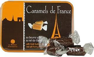 La Maison d'Armorine, Caramels de France au Beurre Sale au Sel de Guerande - Chocolat (French Sea Salted Tender Butter Caramels) in Small Collectors Eiffel Tower Tin, 5.3 Oz