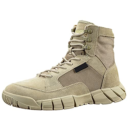 YUHAI Botas tácticas para Hombre Botas de Combate Transpirables Militares, Zapatos de Senderismo, Botas para Caminar al Aire Libre, Botas del Desierto, Sand-41(UK 8)