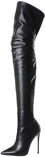 AIYOUMEI Damen Spitz Stiletto Lack Overknee Stiefel mit mit mit 12cm Absatz High Heels Elegant Perty Stiefel Schuhe  allgemeine hohe Qualität