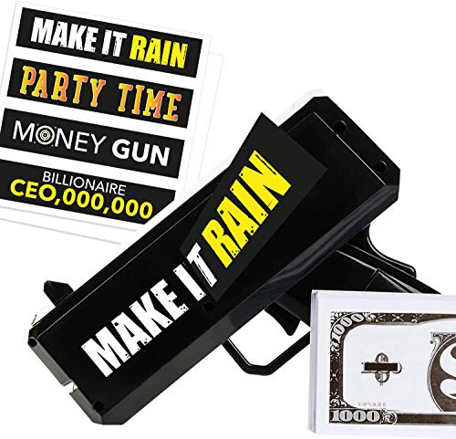 Money Gun Make It Rain - Fun Shooting Prop Cash Gun Shooter, Includes Fake 100 Dollar Bills & 4 Unique Black Stickers for all Celebrations. Shoot Some Supreme Fun into your Bachelor Party or Wedding!