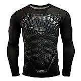 COJETER Nero Super Heroes Super Men Camicia Sportiva da Palestra per Adulti a Compressione Manica Lunga Maglietta