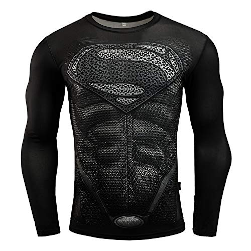 HOOLAZA Justice League T-shirt de compression pour homme Superman Fitness - Noir - Taille L