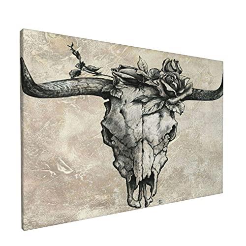 PATINISA Cuadro en Lienzo,Cráneo de toro Gráficos de rosas Grafito Retrato Bodegón Esqueleto Dibujos vintage Cráneo de vaca Animal,Impresión Artística Imagen Gráfica Decoracion de Pared