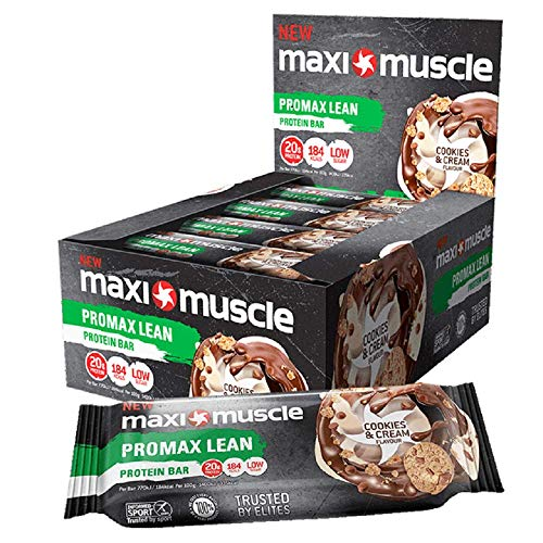 Maximuscle Promax Lean High Protein Bar, Cookies and Cream, 55 g, Pack of 12
