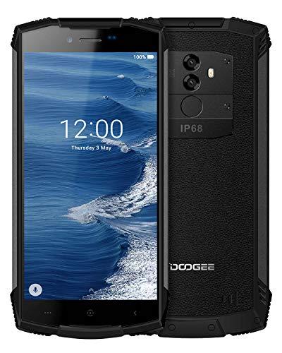 Movil Antigolpes Android 8.0, DOOGEE S55 Móviles y Smartphones Libres 4G Dual SIM, IP68 Telefono Impermeable 4GB RAM 64GB ROM, 5500mAh, Cámara 13.0+8.0MP/5MP, 5.5'HD, Face ID Movil Todoterreno, Negro