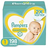 Diapers Newborn/Size 1 (8-14 lb), 198 Count - Pampers Swaddlers...
