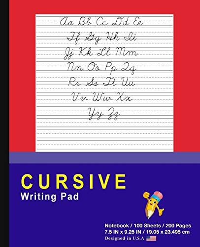 Cursive Writing Pad: Red - Journal Tablet - Cursive Handwriting Practice Workbook For Kids - ABC's & First Words - For Home & School [Classic]
