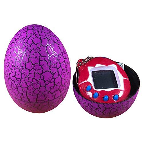 Teydhao Cracked Egg Tumbler Cyber E-Pet Digital Virtual Pet Kid Giocattolo Elettronico Regalo,Accessori da Auto Moto Telefono Borse per Donne Bambini Regalo del Premio della Festa (Rosso + Viola)
