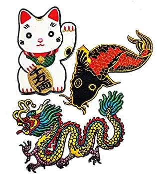 PP Patch Set Cute Maneki-Neko Japan Japanese Lucky Cat Japanese koi carp Fish Tattoo Japan Love Chinese Dragon kung fu Yakuza Tattoo Embroidered Applique Iron-on Patch