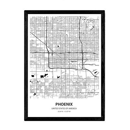 Nacnic Poster mit Karte von Phoenix -...
