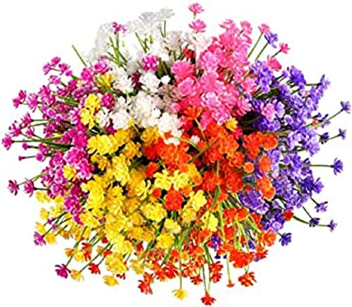Artificial Fake Flowers 12 Bundles of 6 Colors Outdoor UV Resistant Greenery Shrubs Plants Indoor...