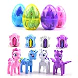 QINGQIU 4 Pack Jumbo Unicorn Deformation Easter Eggs with Toys Inside for Kids Boys Girls Toddlers Easter Basket Stuffers Fillers Gifts Party Favors