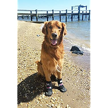 Bark Brite All Weather Neoprene Paw Protector Dog Boots with Reflective Straps in 5 Sizes! (Lg (3.5x3.5 in.)) Travel Zipper Case Included!