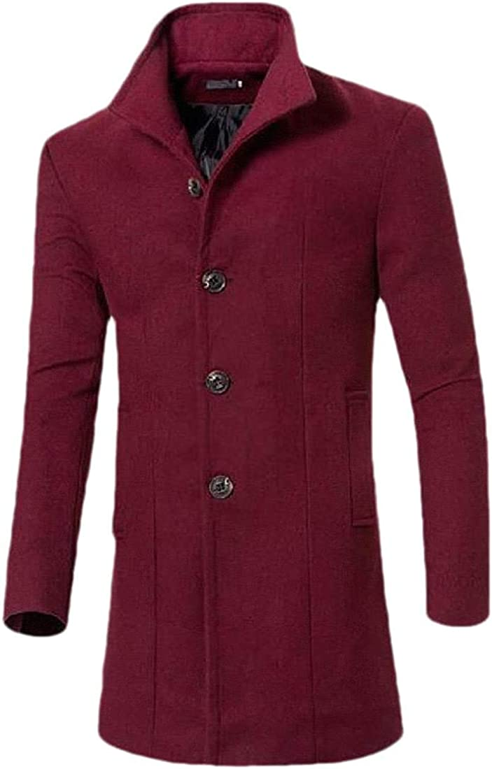 krystal bugarin Men Wool-Blend Lapel Button Up Long Sleeve Mid Length Thick Outerwear Pea Coat Jacket