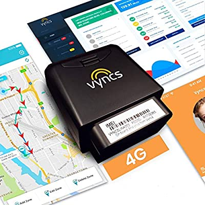VyncsFleet: GPS Tracker No Monthly Fee, OBD, Real Time 3G Fleet Car/Truck Tracking, Free 1 Year Data Plan, Trips, Vehicle Diagnostics, Driver Safety Alerts, Fuel Report, Emission Report (Black)